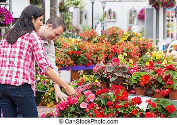 pareja, centro de jardín, plantas, escoger
