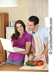 pareja, cocina