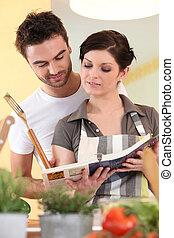 pareja, cocina, receta, libro