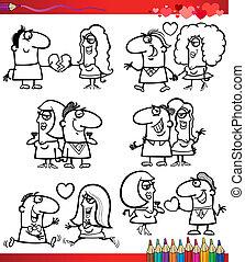pareja, colorido, amor, caricaturas, página