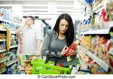 pareja, compras, joven, supermercado
