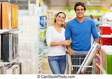 pareja, compras, juntos