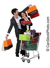pareja, compras, navidad