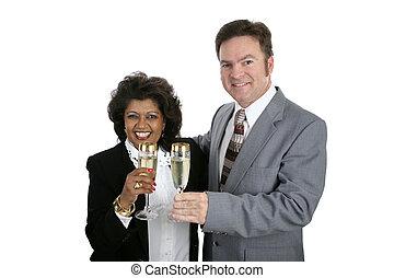 pareja, con, champaña