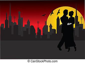 pareja, con, ciudad, en, plano de fondo