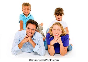 pareja, con, dos niños