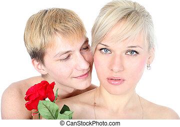 pareja, con, flor