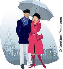 pareja, con, paraguas