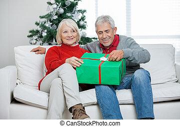 pareja, con, regalo de navidad, se sentar sobre sofá