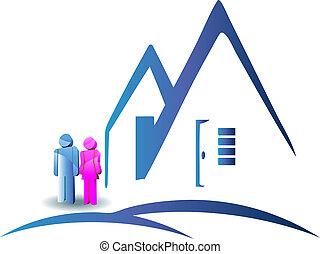 pareja, con, un, casa nueva, logotipo