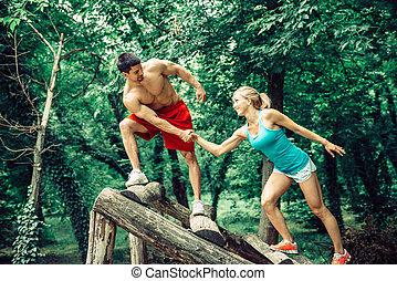 pareja, condición física, aire libre