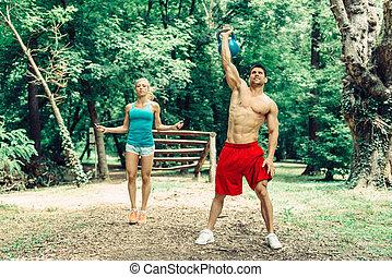 pareja, condición física