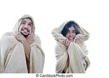 pareja, congelador