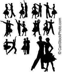 pareja, conjunto, bailando