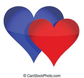 pareja, corazón, concepto