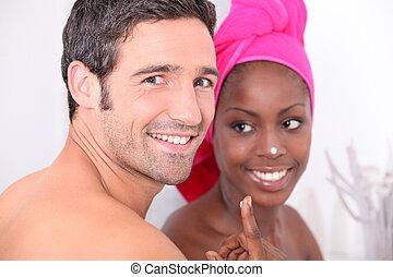 pareja, cuarto de baño