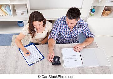 pareja, cuentas, calculador