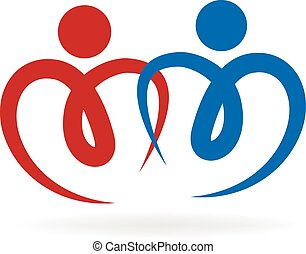 pareja, de, amor, logotipo, vector