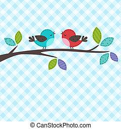 pareja, de, aves