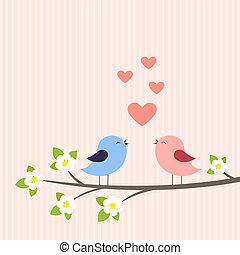 pareja, de, aves, enamorado