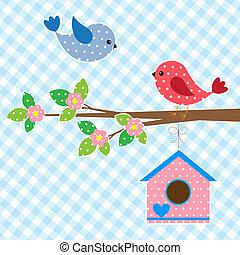 pareja, de, aves, y, birdhouse