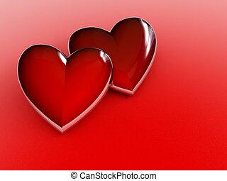 pareja, de, corazones