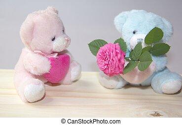 pareja, de, suave, osos, enamorado