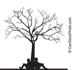 pareja, debajo, árbol