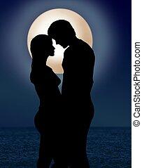 pareja, debajo, luz de la luna, romance