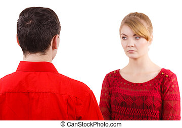 pareja, después, pelea, ofendido, triste, serio