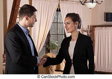 pareja, después, reunión negocio