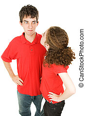 pareja, discusión, adolescente