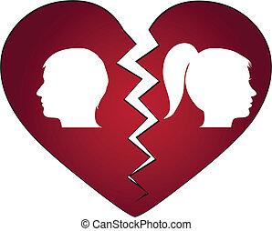 pareja, divorciado, obteniendo