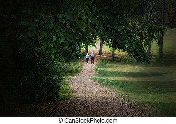 pareja edad avanzada, caminata