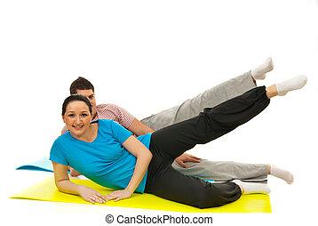 pareja, ejercicio, condición física