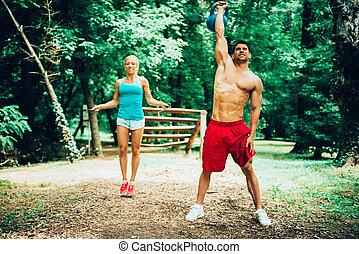 pareja, ejercitar, condición física