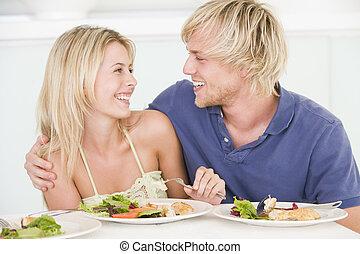 pareja, el gozar, comida, joven, juntos