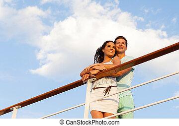 pareja, el mirar lejos, en, vaya barco