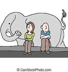 pareja, elefante, habitación, preocupado