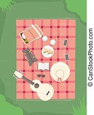 pareja, elementos, picnic, ilustración