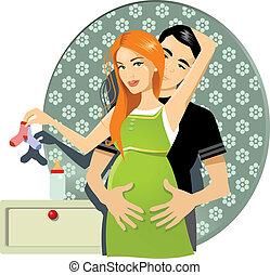 pareja, embarazada