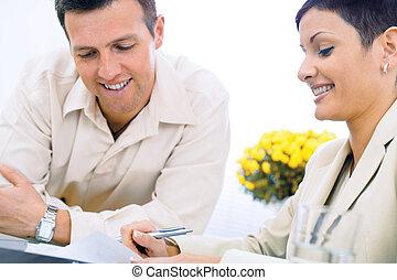 pareja, empresa / negocio, trabajando