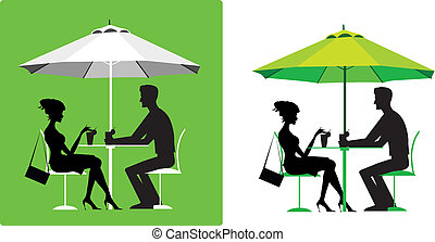 pareja, en, café al aire libre