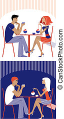 pareja, en, café