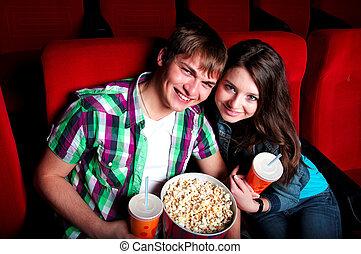 pareja, en, cine