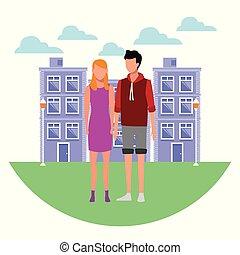 pareja, en, ciudad, caricatura