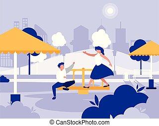 pareja, en el estacionamiento, con, patio de recreo, aislado, icono