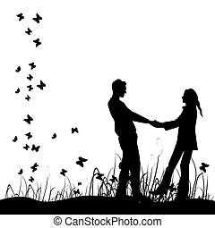 pareja, en, pradera, negro, silueta
