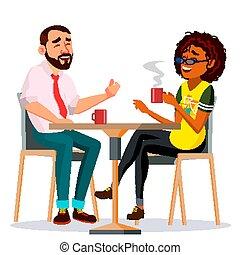 pareja, en, restaurante, vector., hombre, y, woman., el sentarse junto, y, bebida, coffee., lifestyle., aislado, caricatura, ilustración