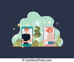 pareja, en, smartphone, en, paisaje